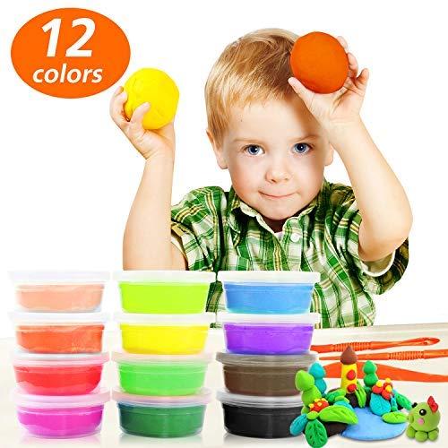 Samione Knete Kinder, Springknete / Hüpfknete für Kinder / Knete Bunt Set, Kinderspielzeug Kinderknete, Schönes Mitgebsel zum Geburtstag - 12 Farben