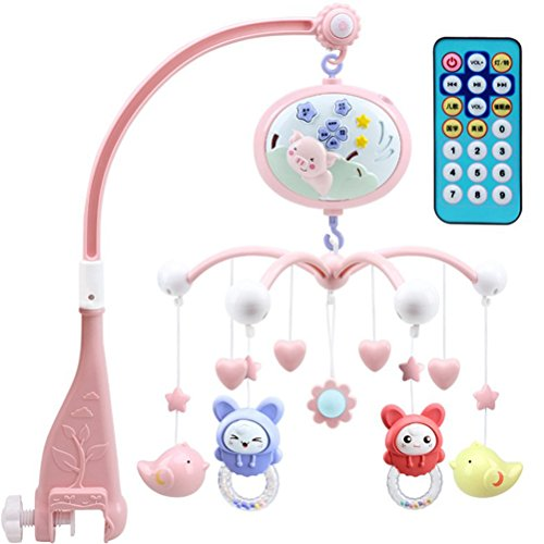 TOYANDONA Baby Mobile für Krippe mit Musik Lichter Timing Funktion Projektion für Babys Junge Mädchen toddles schlafen