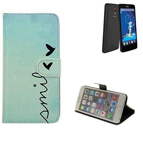 K-S-Trade® für Haier Phone L52 Wallet Case Schutz Hülle Flip Cover Tasche ''Smile'', türkis