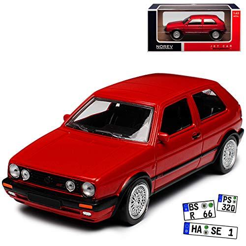 Norev Volkwagen Golf II GTI G60 Rot 1983-1992 1/43 Modell Auto mit individiuellem Wunschkennzeichen