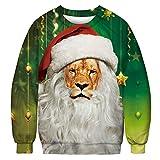 URVIP Unisex Weihnachtspullover Strickpullover 3D Druck Herren Damen Pullover Halloween Weihnachten Jumper Ugly Sweater Christmas Lion BFT-012 XL