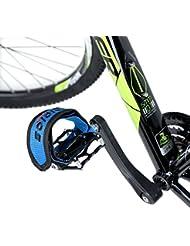 IntellaTrust (TM) fijo Gear Fixie BMX bicicleta bicicleta antideslizante doble adhesivo correas Pedal Toe Clip correa cinturón, azul