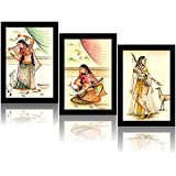 Tamatina Frame Painting - The Queen In Palace With Deer - Set Of 3 Paintings - Painting For Living Room - Painting For Home Décor - Frame Painting - Dimensions Of Each Frame (10X7 Inch)