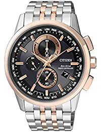 Citizen Herren-Armbanduhr RADIO CONTROLLED Chronograph Quarz Edelstahl beschichtet AT8116-65E