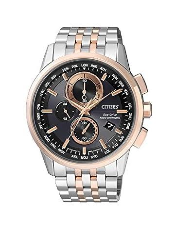 Citizen Herren-Armbanduhr RADIO CONTROLLED Chronograph Quarz Edelstahl beschichtet AT8116-65E