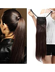 "22"" Queue de Cheval Postiche Extension de Cheveux (Attachée par bandeau) Lisse - Wrap Around Tie Binding Ponytail Extensions - Marron (55cm)"
