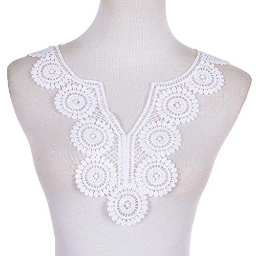 1Weißer gestickter Spitzenkragen, Halsausschnitt, Venise-Stickerei, zum Aufnähen, Accessoires zum Nähen, von Toyzhijia weiß