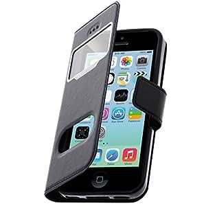 Housse, Pochette double Fenêtre Ultra-slim - Noir pour Apple iPhone 5C