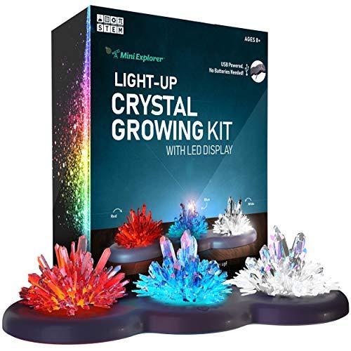 Mini Explorer beleuchtetes Kristallzuchtset - Eigene Kristalle züchten und zum Leuchten bringen! Tolles wissenschaftliches Geschenk für Jungen und Mädchen | Mint-Spielzeug | Kristallherstellung