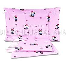 Caleffi.- Juego de sábanas para cuna en medida 60x120 cm Disney Baby Minnie Fantasy (100% algodón)