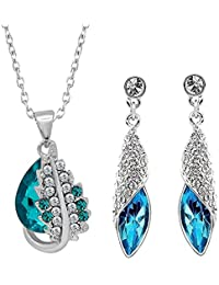 Oviya Rhodium Plated Combo Of Splendid Blue Pendant And Earrings With Crystal Stones CO2104694R