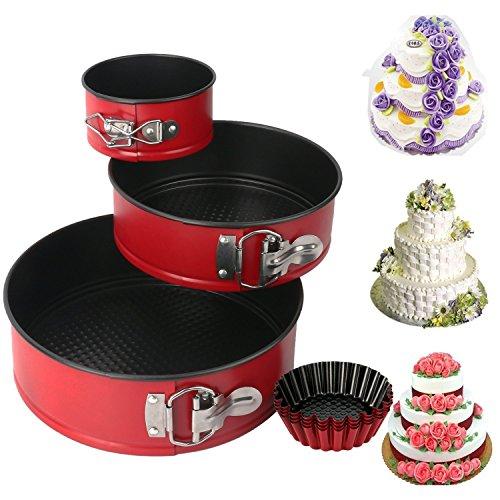 mcirco Aluminiumguss Lecksicher 3(10,2cm/17,8cm/22,9cm) Springform-Set, Kuchen Pfanne Bakeware Käsekuchen Pfanne mit 4Ei Tart Form (Kuchen-ei-pfanne)