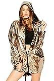 Frauen Gold Metallic - Mantel Jacke Locker Kapuzenpulli Wasserdichte Jacken Mode Und Mode