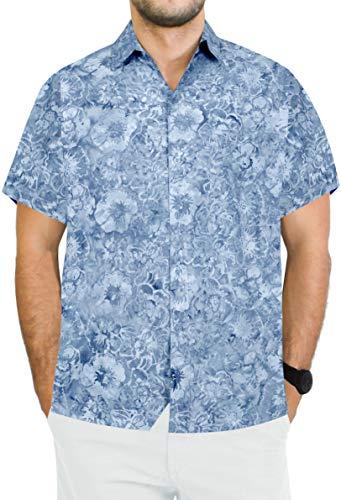 LA LEELA Herren-Hawaii-Hemd zuknöpfen kurzen Ärmeln Hibiskus gedruckt Urlaub Aloha Grau_AA169 M-Brustumfang (in cms):101-111