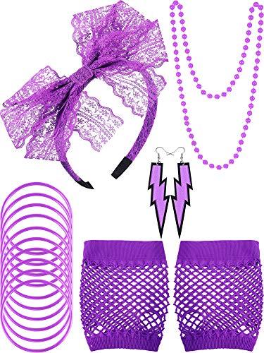 80s Lace Stirnband Ohrringe Fischnetz Handschuhe Halskette Armband für 80s Partei (Lila)