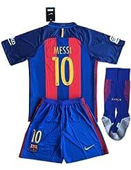 Barcelona Messi # 10Fútbol Jersey Set (camisa + pantalones + calcetines) niños/jóvenes 11–13años