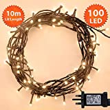 Fairy Lights 100 LED 10m Warm White Indoor/Outdoor Christmas Lights String TreeLights Festival/Bedroom/Party Decorations Memory Mains Powered 32ft Lit Length 3m/9ft Lead Wire Green Cable