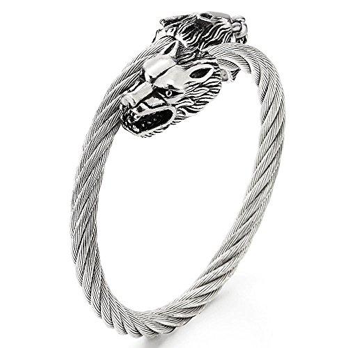 COOLSTEELANDBEYOND Herren Armreif Edelstahl Wolfskopf Verdrehten Stahlkabel Manschette Armband, Verstellbare