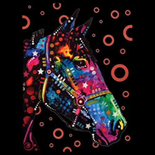 HORSE Pferd - Langarm Damen Shirt - Druck Pop Art Style Schwarz