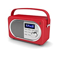 Shelford Retro DAB Digital FM Portable Radio / Alarm Clock / Leather Effect Finish / Mains Powered from Majority