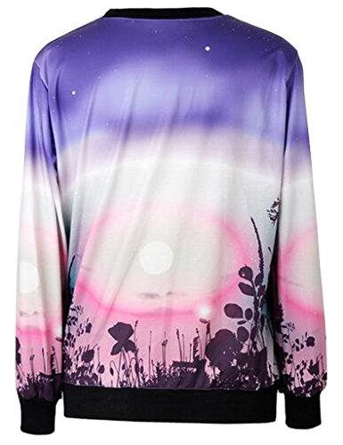 Lotus Instyle Les animaux ¨¤ manches longues des femmes Impression col rond Chemisier Purple Pink
