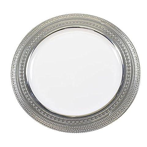 STRONG Einweg-Kunststoff weiß Teller & Schalen mit Silber Rand–Kunststoff Hochzeit und Weihnachten Geschirr von Stampfern 10