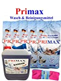 20Kg Primax Waschpulver mit 10 Ltr. Blackwash mit Ausgießer + Microfasertuch Waschmittel Vollwaschmittel