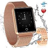 AGPTEK Smartwatch, Reloj Inteligente Deportivo Impermeable para con Pantalla a Color, Correa Cambio y GPS, Monitor de Sueño, Recordatorio de Mensaje, Compatible con Android y iOS, Dorado
