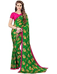 Indira Designer Crepe Saree with Blouse Piece (TWIN-JANNU-GREEN_Green_Free Size)