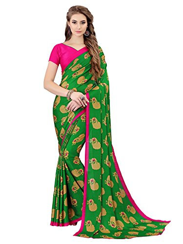 Indira Designer Women's Peacock Printed Crape Silk Printed Saree (Green)