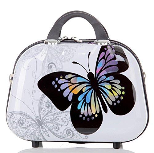 Aufrechte Gepäck (Reise Koffer Trolley mit Polycarbonat ABS Hartschale und Motiv BB (1: 10 Liter - Beautycase, Butterfly))