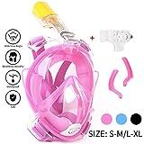 Maschera da Snorkel / Maschera per Snorkeling--easybreath maschera subacquea snorkeling/ immersioni/nuoto--180 gradi panoramici--Full Face Design di Respirazione Libera--maschere subacquee--Più anti-nebbia e anti-perdita-- Inserimento di 2 tubi respiratori-- Tappi per le orecchie incorporato e Previene il Gag Reflex (Pink, S-M)