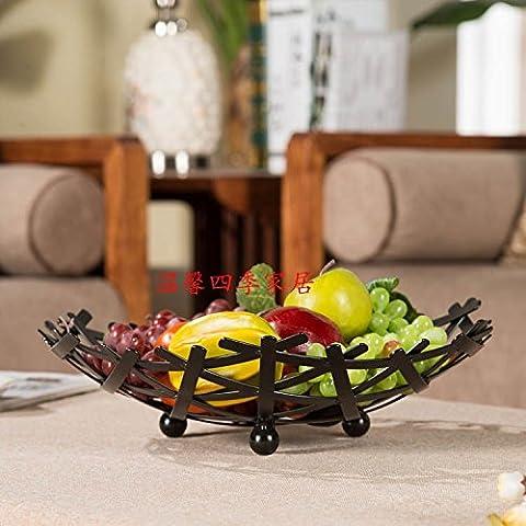 Das Wohnzimmer Obstteller Bügeleisen Großen Korb Nest Fashion Süßigkeit Kuchen Brot Schüssel Becken Kreative Storage Rack, Schwarz