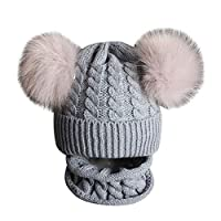 Ponnen Kids Winter Hat Set Knitted Solid Color Warm Pompom Beanie Cap with Scarf Grey Hat Only