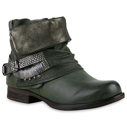 Stiefelparadies Gefütterte Damen Biker Boots Stiefeletten Winterschuhe Metallic Prints Nieten Schnallen Übergößen Schuhe Flandell Dunkelgrün