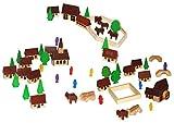 60 tlg. Set: Dorf mit Kirche, Häuser & Bäume, Pferdewagen, Figuren und Bausteine - aus Holz -...