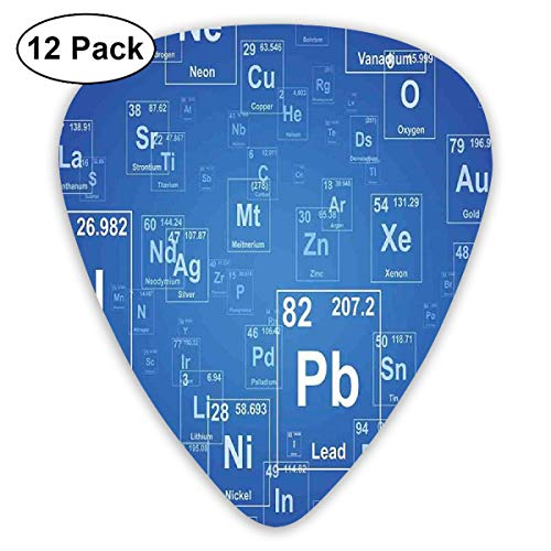 Guitar Picks - Abstract Art Colorful Designs,Chemistry Tv Show Inspired Image With Periodic Element Table Image Print Art,Unique Guitar Gift,For Bass Electric & Acoustic Guitars-12 Pack