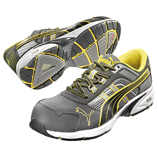 Puma Safety Shoes Pace Low S1P HRO SRA, Chaussures basses Puma 642560–822 Espadrille pour adulte Unisexe Noir/gris/jaune