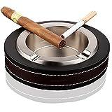 Haut de gamme de luxe Cendrier à cigares, Inox Cuir Cigarette Cendrier cigare pour utilisation intérieur extérieur, la mode ronde Cuir Cigarette Ashtray-kalolary Silver