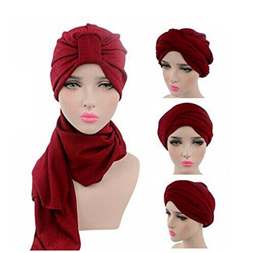 iKulilky Damen Kopfbedeckung Muslim Hijab Kopftuch Schal Chemo Hut Mütze Arabia Islam Turban Kopftuch für Haarverlust, Krebs, Chemotherapie