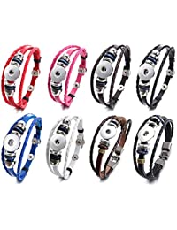 Soleebee 8 pièces Alliage en Cuir PU Bracelet Pression Boutons Bracelet s'adapter 18-20mm Pression Boutons