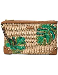 044a0863988995 Michael Kors Extra Large Woven Malibu Palm Leaf Zip Clutch, Natural/Palm