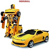 TanMan Battery Operated Converting Car to Robot, Robot to Car Automatically,Transformer Toy, with Light and Sound for Kids