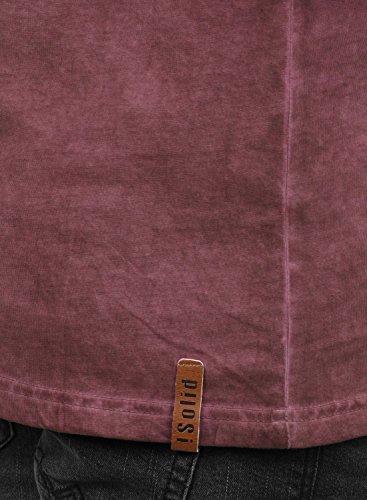 SOLID Timur Herren Longsleeve Langarmshirt mit Grandad- Ausschnitt aus 100% Baumwolle Slim Fit Meliert Wine Red (0985)