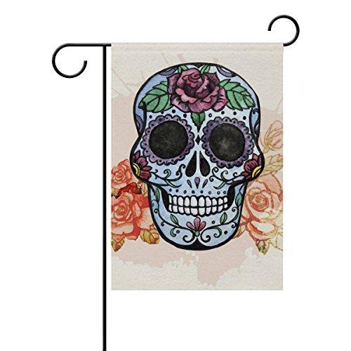 Mexican Sugar Skull-Garten Flagge, wetterfest Flaggen für Jahr rund Outdoor Display doppelseitig Welcome Hartschale 30,5x 45,7cm, T040, Gesponnenes Polyester, mehrfarbig, 12x18(in) (Sugar Skull-fahne)