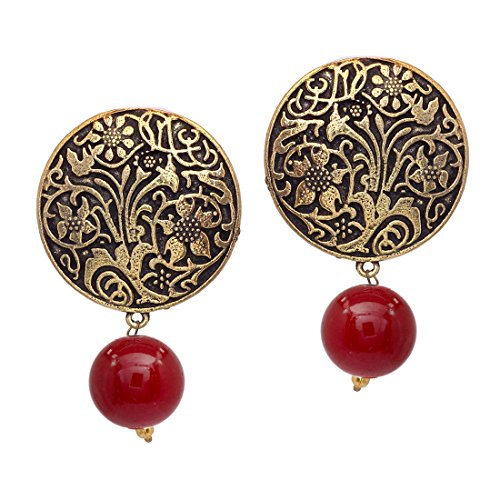 V L Impex Maroon Gold Plated Stud With Beads Stud Earrings For...