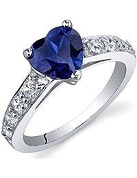 Revoni Bague Femme - Argent fin 925/1000 - Saphir Bleu 1.75 ct - Oxyde de Zirconium
