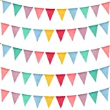 Keriber 72 flags 59 Feet Multicolor Triangle Flags Imitated Linen Burlap Bunting Banner Supply for Wedding Birthday Party Festival Decoration