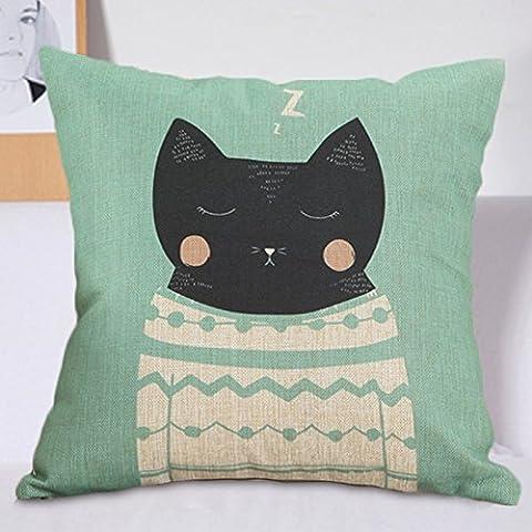 OSPI Cartoon Cotton linen Cushion Covers Home Decorative Throw Pillow Case Cover 18x18'45cmX45cm (Sleepy