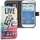 kwmobile Funda chic de cuero sintético para el Samsung Galaxy S3 i9300 / S3 Neo i9301 con una práctica función de soporte - ¡Diseño Live the Life en multicolor rosa fucsia azul!